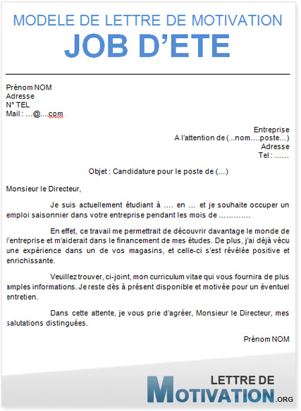 exemple lettre de motivation pour job d ete