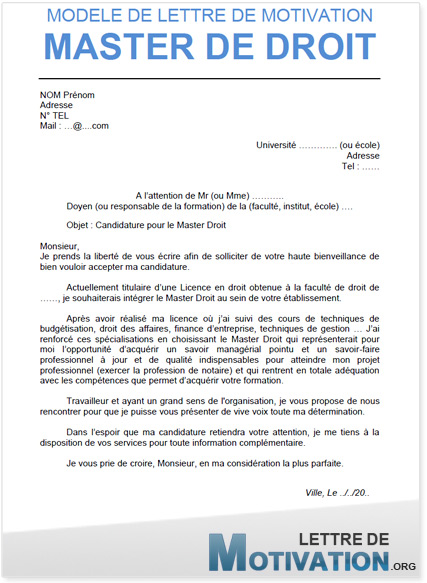 modele lettre de motivation master 2 droit